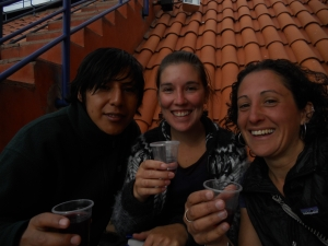 not a great picture, but Benjamin, Stephanie and I drinking wine on the church roof